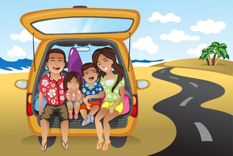 Famiglia su un viaggio stradale illustrazione di stock