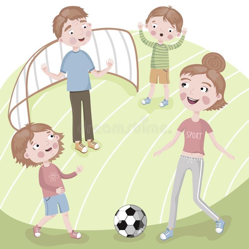 Famiglia sul giocar a calcioe di vacanza illustrazione di stock