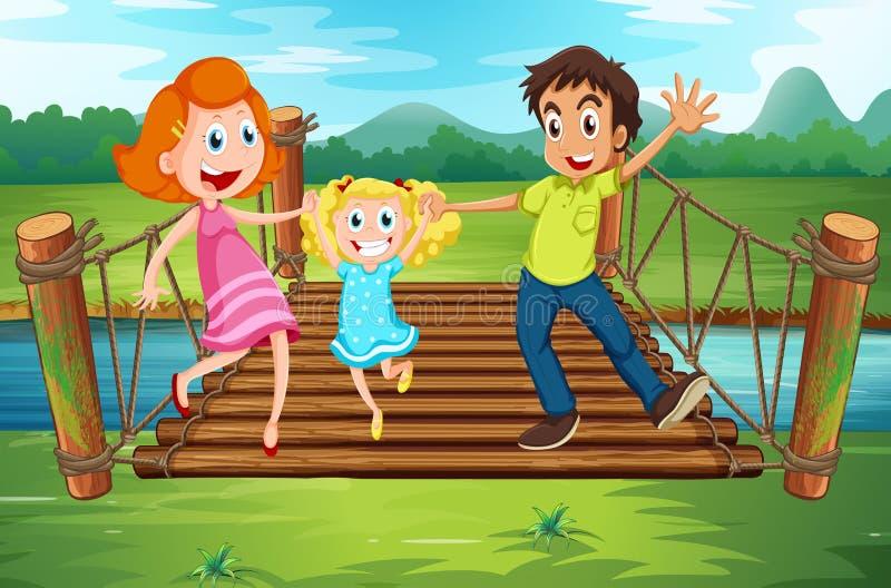 Famiglia sul ponte di legno nel parco illustrazione di stock