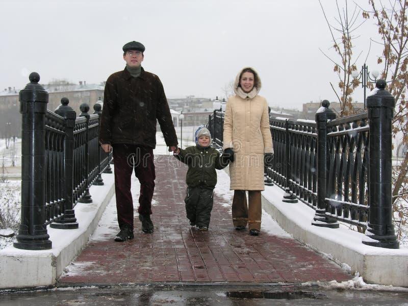 Famiglia sul ponticello di inverno immagine stock
