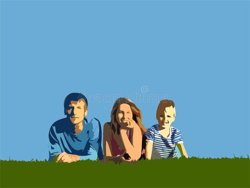 Famiglia sull'erba illustrazione di stock