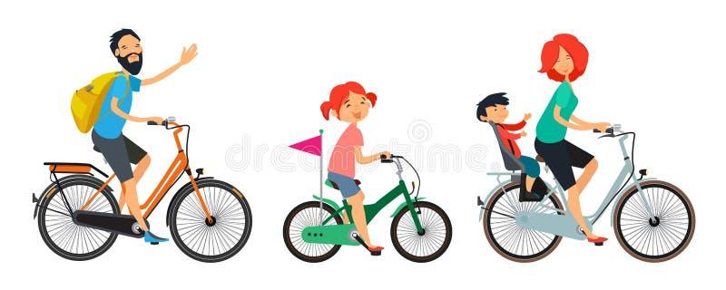 Famiglia sulla passeggiata delle biciclette Guida maschio e femminile sulla bici royalty illustrazione gratis