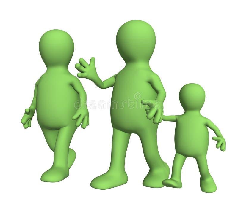 Famiglia sulla passeggiata - mummia, papà e bambino immagine stock libera da diritti