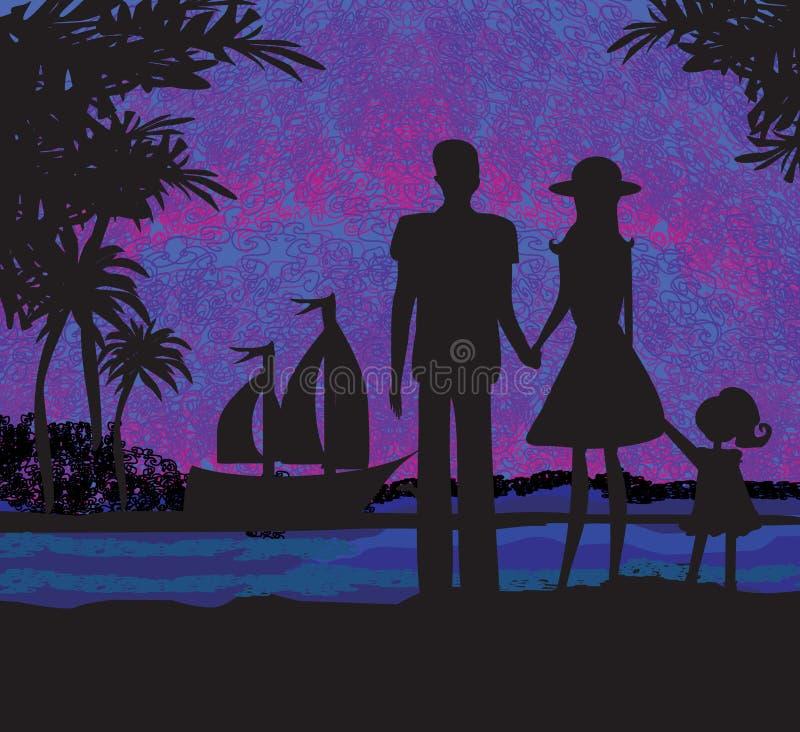 Famiglia sulla vacanza tropicale illustrazione di stock