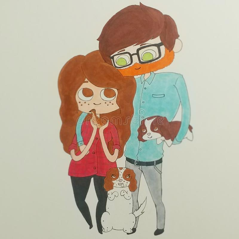 Famiglia sveglia illustrazione vettoriale
