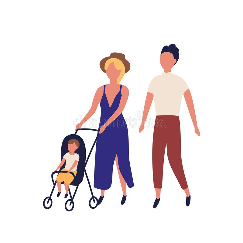Famiglia sveglia che cammina insieme Madre, padre e bambino adorabili in passeggiatore Genitori e bambino che eseguono svago illustrazione di stock