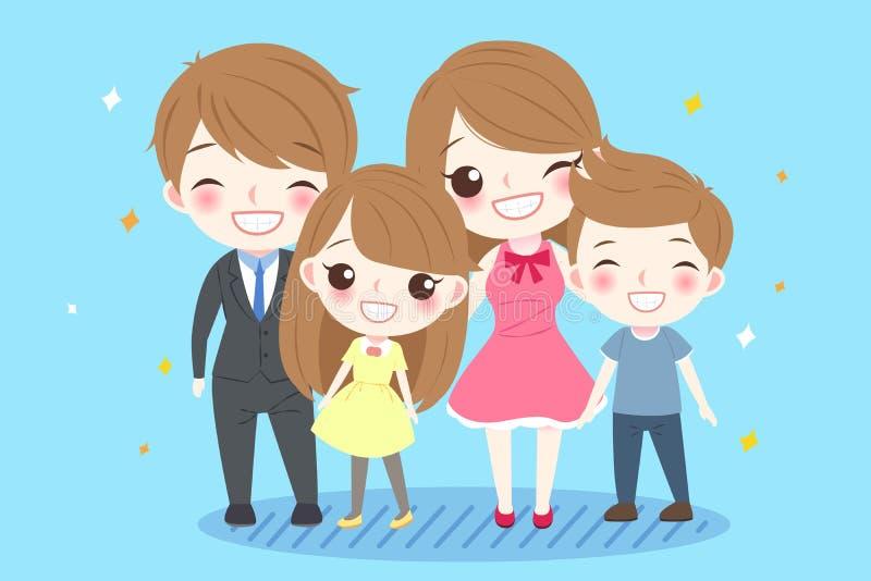 Famiglia sveglia del fumetto illustrazione di stock