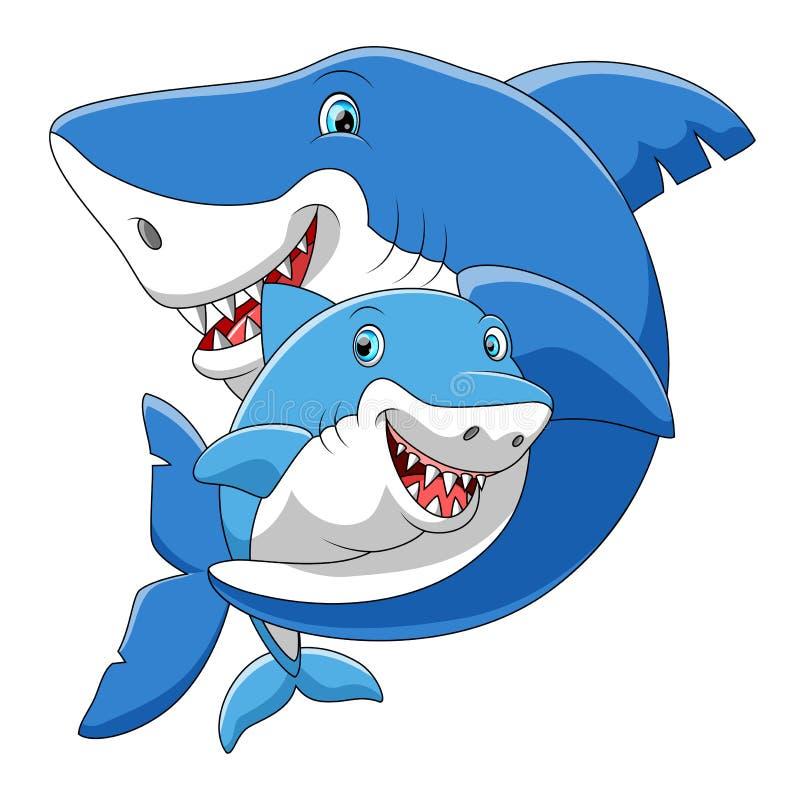 Famiglia sveglia del fumetto dello squalo che gioca insieme royalty illustrazione gratis
