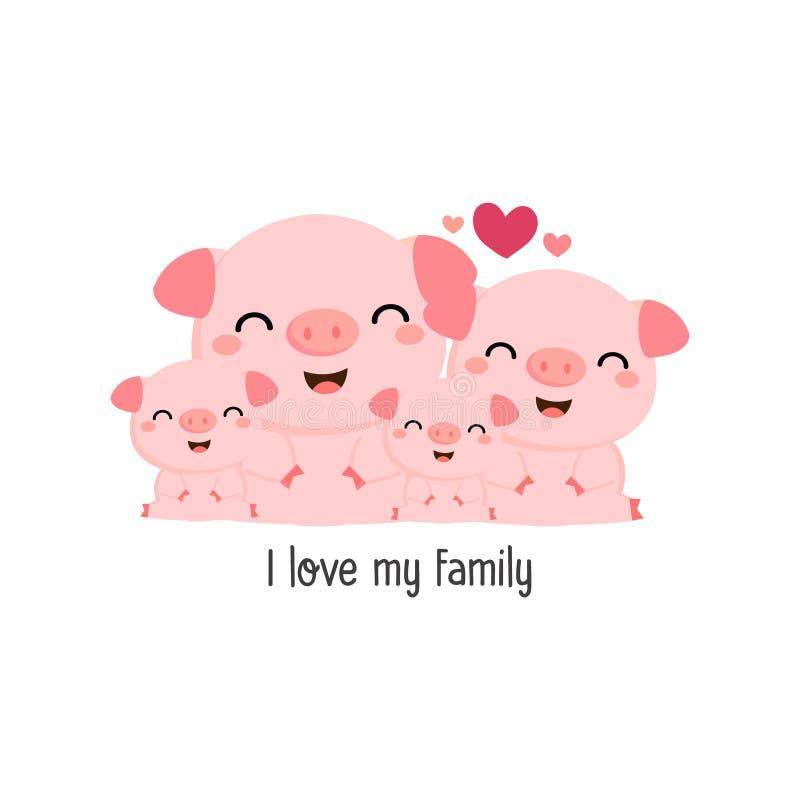 Famiglia sveglia del maiale