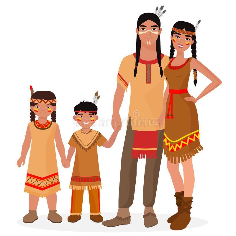 Famiglia tradizionale indiana del nativo americano Uomo e donna indiani americani Bambini indiani americani della ragazza e del r royalty illustrazione gratis