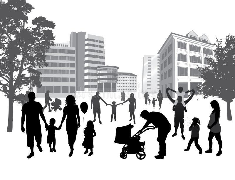 Famiglie che camminano nella città. Stile di vita, BAC urbano illustrazione vettoriale