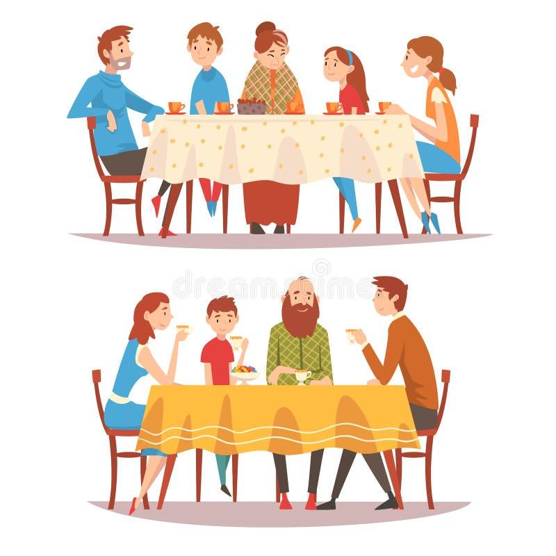Famiglie che si siedono all'insieme del tavolo da cucina, ai genitori felici, ai nonni ed ai bambini mangianti alimento, tè beven royalty illustrazione gratis