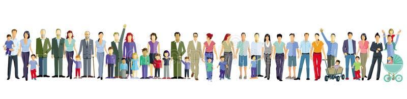 Famiglie con i bambini, i genitori e gli amici illustrazione di stock