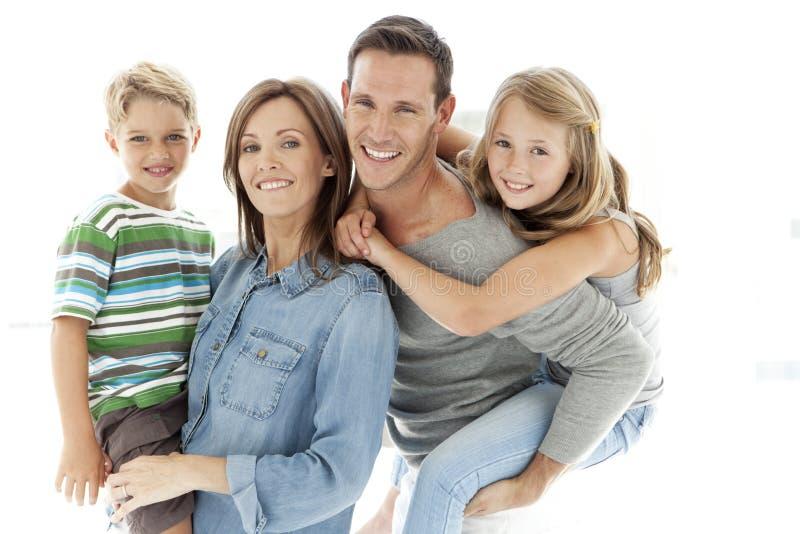 famiglie dei bambini molti felici della famiglia il mio portafoglio due immagine stock libera da diritti
