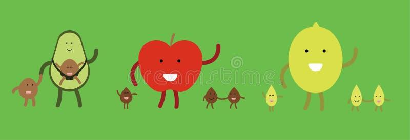 Famiglie della frutta di vettore felici insieme illustrazione di stock