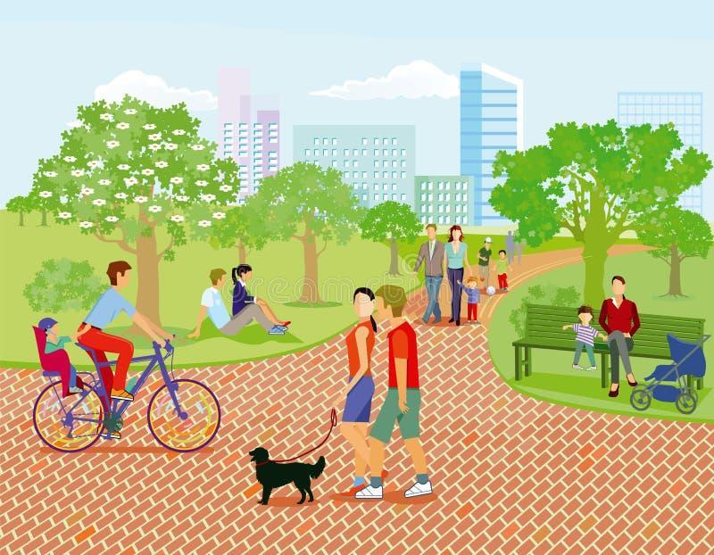 Famiglie e genitori nel parco royalty illustrazione gratis