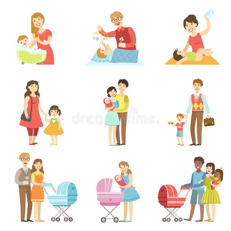 Famiglie felici con i bambini ed i bambini illustrazione vettoriale