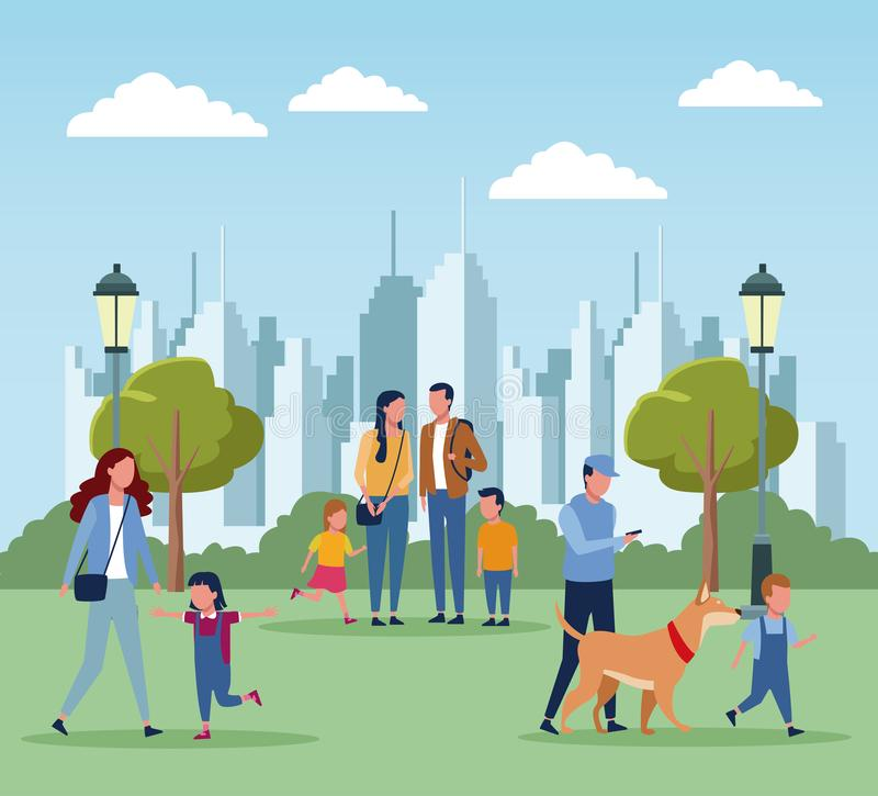 Famiglie in parco royalty illustrazione gratis