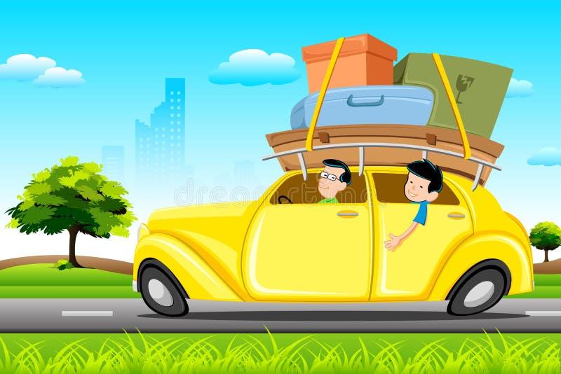 Famil en coche en viaje