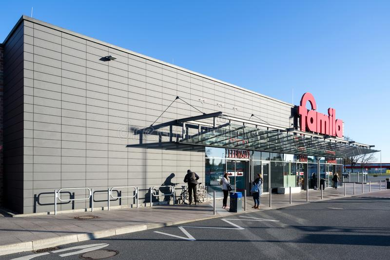 Famila supermarket in Kaltenkirchen, Germany. Famila is a retail company with over 80 hypermarkets in Germany and has been on the market for over 40 years stock image