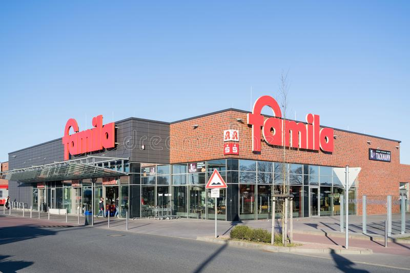 Famila supermarket in Kaltenkirchen, Germany. Famila is a retail company with over 80 hypermarkets in Germany and has been on the market for over 40 years royalty free stock photography