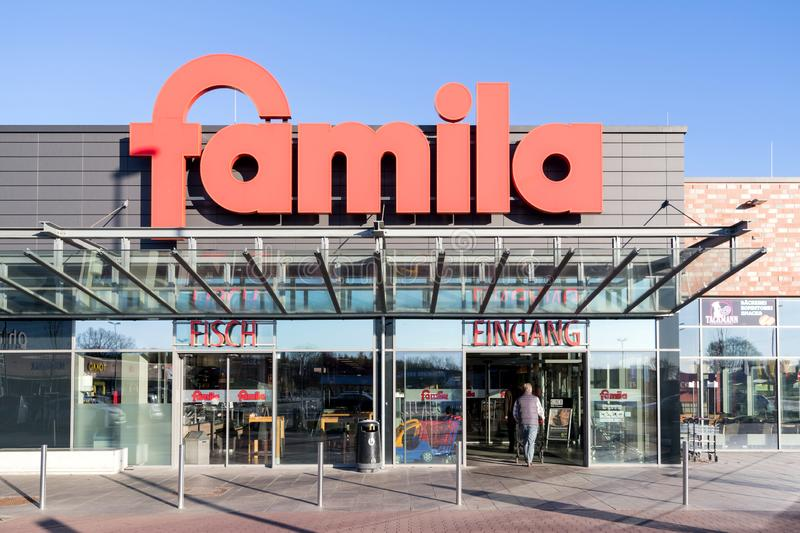 Famila supermarket in Kaltenkirchen, Germany. Famila is a retail company with over 80 hypermarkets in Germany and has been on the market for over 40 years royalty free stock images