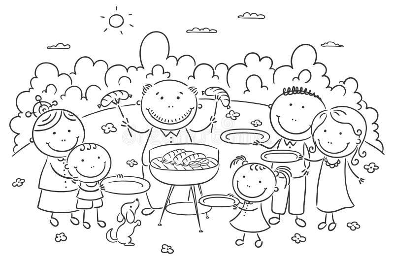 Famile, das Picknick draußen hat vektor abbildung