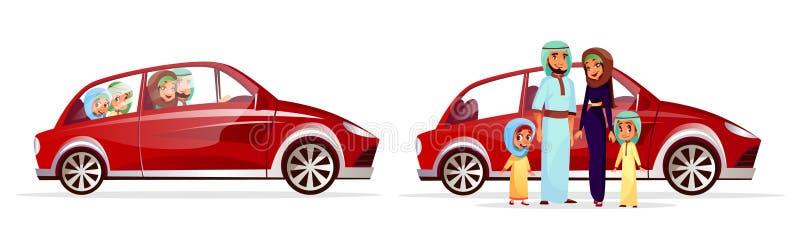 Familia árabe en el ejemplo del vector del coche ilustración del vector