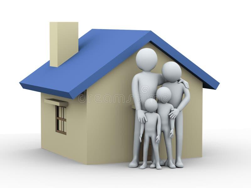 familia 3d y casa libre illustration