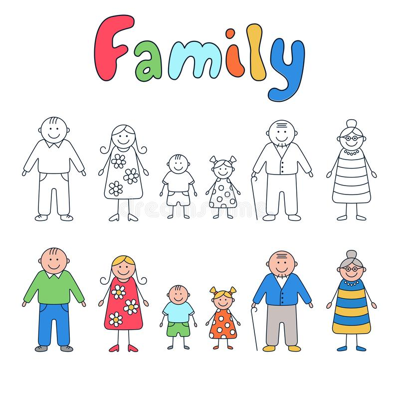 Familia: abuelos, padres y niños Sistema de elementos en estilo del garabato y de la historieta ilustración del vector