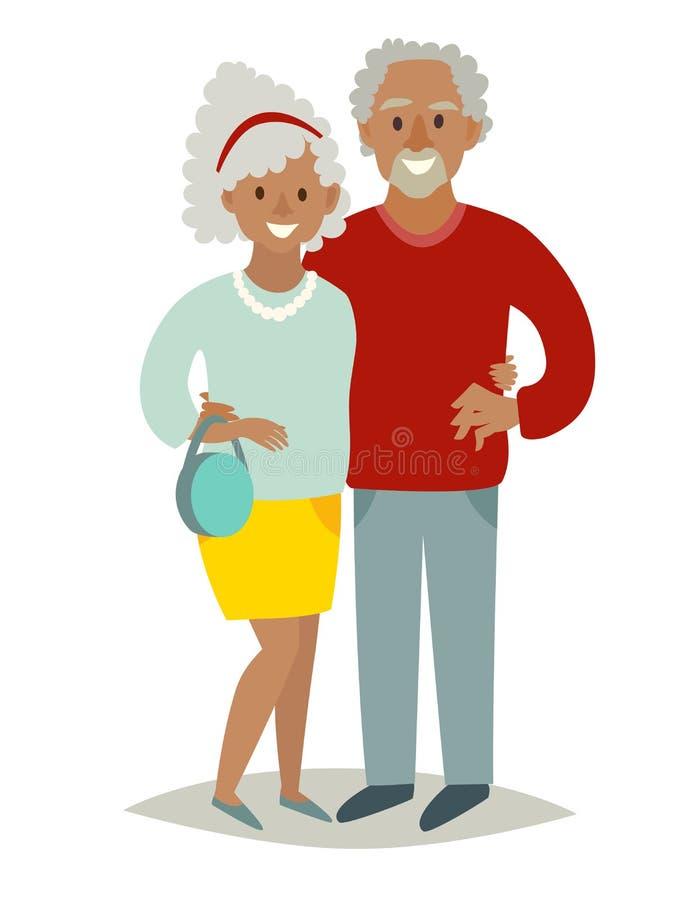 Familia africana en amor Viejo hombre africano y viejos pares africanos de la mujer Familia feliz del pensionista de los personaj ilustración del vector