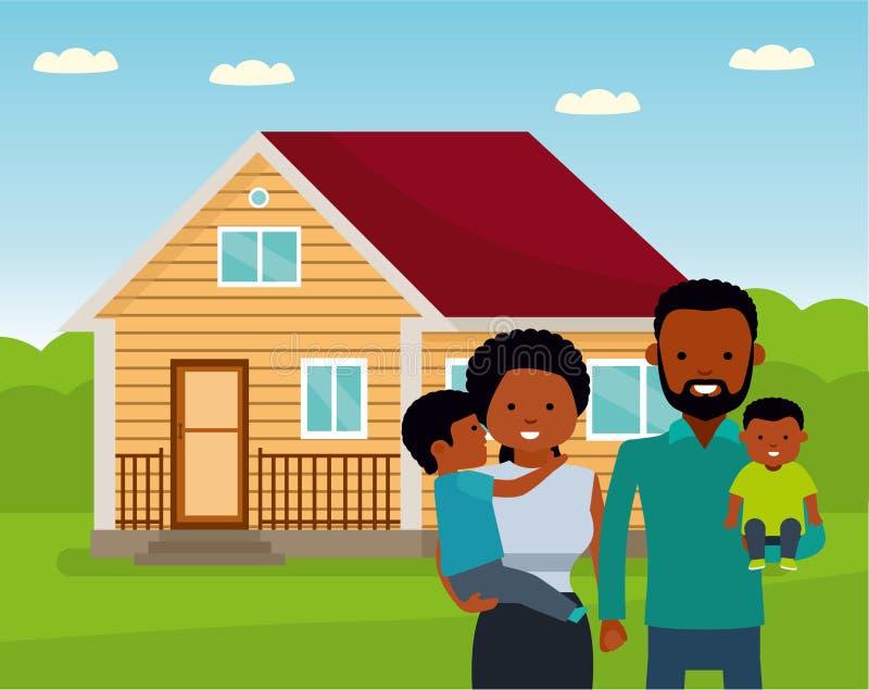 Familia africana feliz en el fondo de su hogar Padre, madre, e hijo dos junto al aire libre stock de ilustración