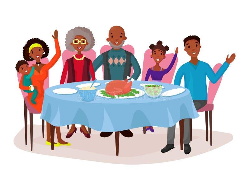 Familia afroamericana feliz en la tabla de cena stock de ilustración