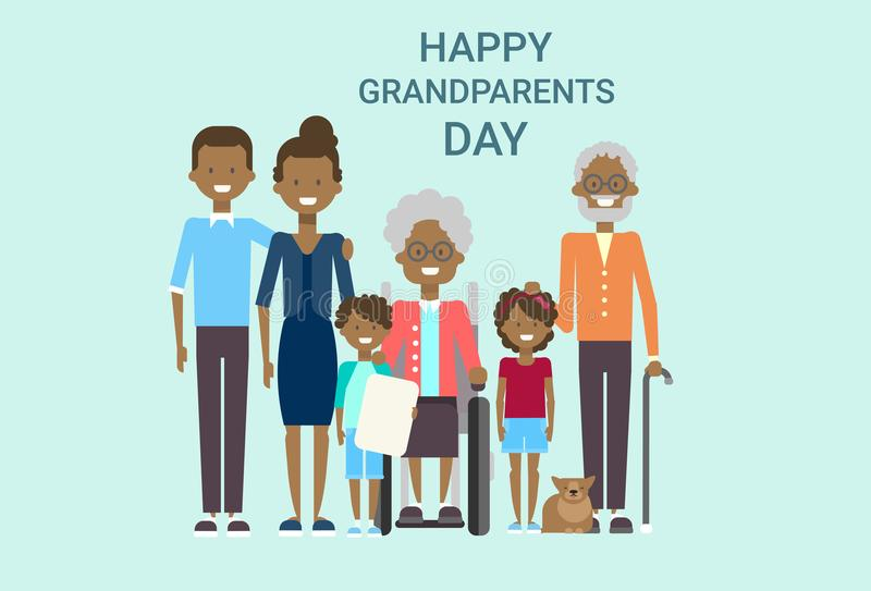 Familia afroamericana grande de los abuelos del día de felicitación de la bandera feliz de la tarjeta junto stock de ilustración