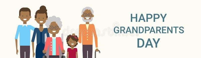 Familia afroamericana grande de los abuelos del día de felicitación de la bandera feliz de la tarjeta junto ilustración del vector