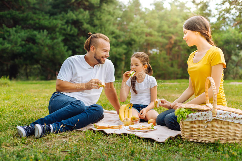 Familia agradable que come bocadillos en comida campestre imagenes de archivo