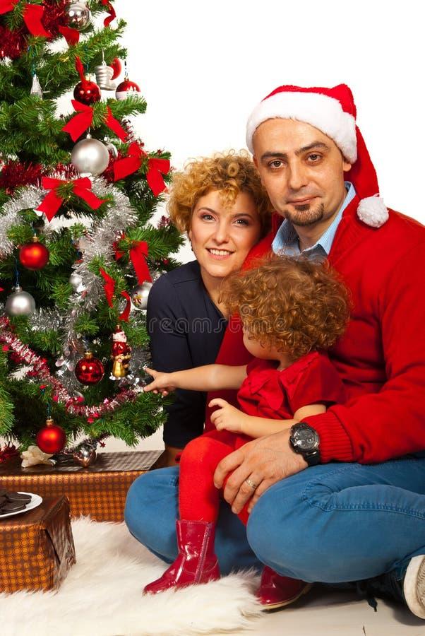 Familia alegre de la Navidad fotos de archivo