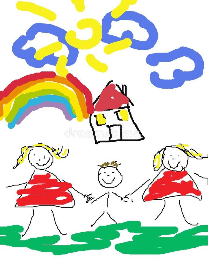 Familia alegre feliz stock de ilustración