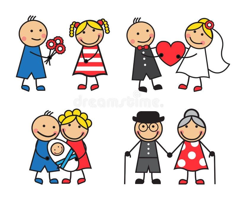 Familia amistosa y feliz stock de ilustración