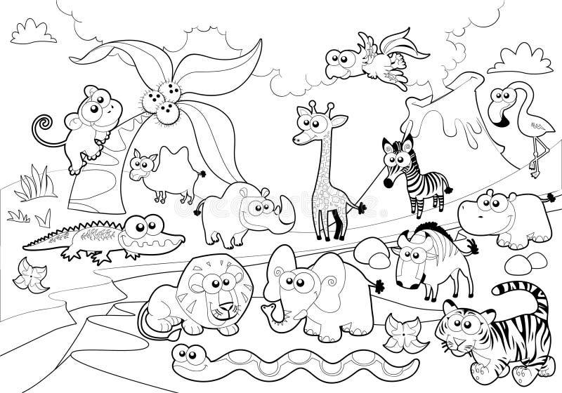 Familia animal de la sabana con el fondo en blanco y negro. ilustración del vector