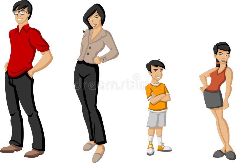 Familia asiática ilustración del vector