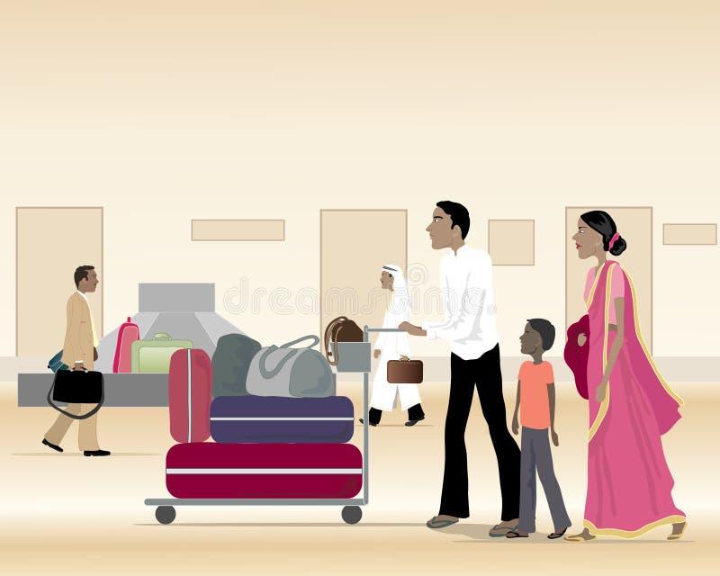 Familia asiática con equipaje ilustración del vector