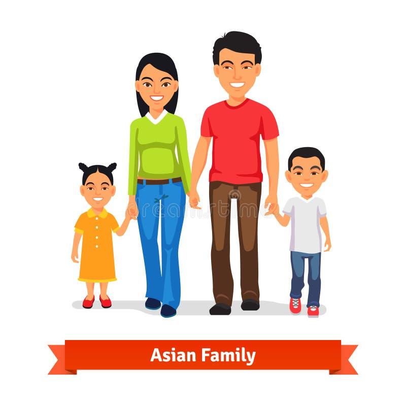 Familia asiática que camina junto y que lleva a cabo las manos libre illustration