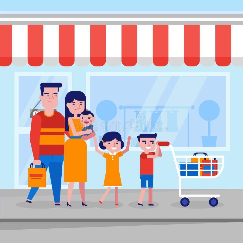 Familia blanca caucásica joven con hacer compras de los niños ilustración del vector