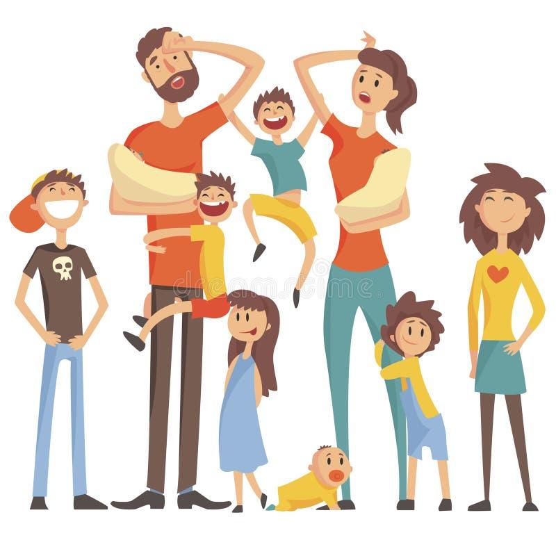 Familia caucásica feliz con el retrato de muchos niños con todos los niños y ejemplo colorido de los bebés y de los padres cansad ilustración del vector