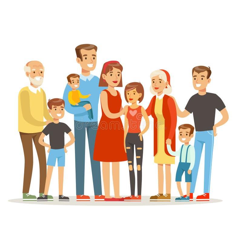 Familia caucásica grande feliz con el retrato de muchos niños con todos los niños y bebés y padres cansados coloridos stock de ilustración