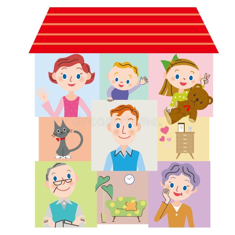 Familia cercana de la tres-generación stock de ilustración