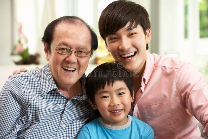 Familia china multi de Genenration que se relaja en el país imagen de archivo libre de regalías