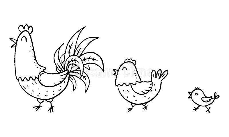 Familia colorida del pollo de la historieta, ejemplo del vector del esquema libre illustration