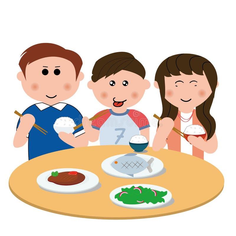 Familia, comiendo stock de ilustración